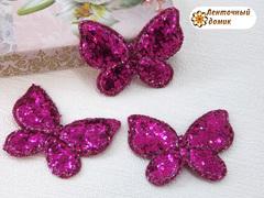 Мягкий декор Бабочки глиттерные малиновые № 1