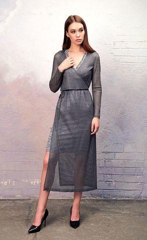 Фото серебристое платье-футляр с разрезом и v-образной горловиной - Платье З343-445 (1)