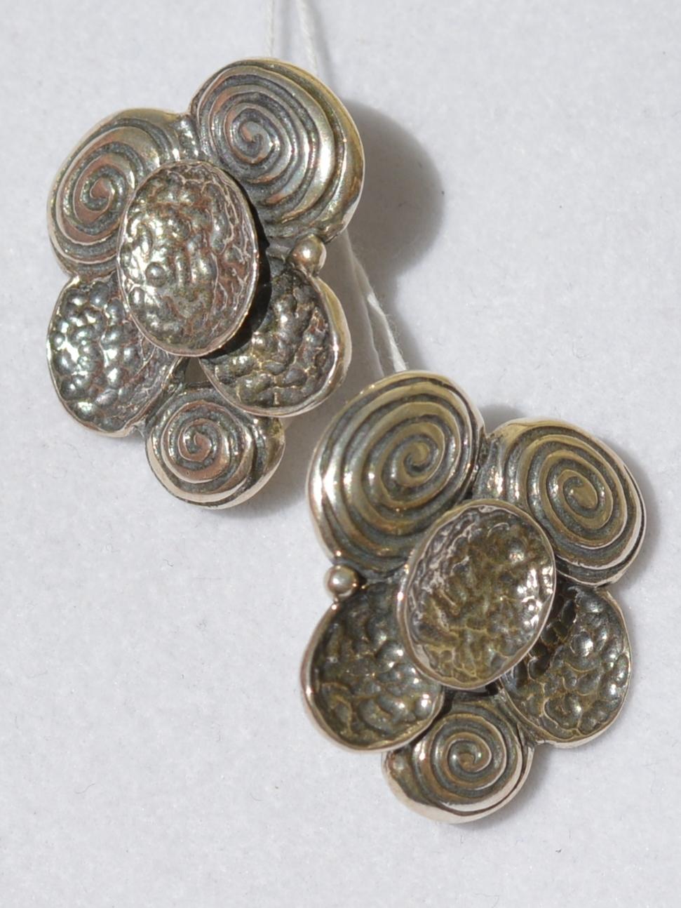 Шиитаке (серьги из серебра)