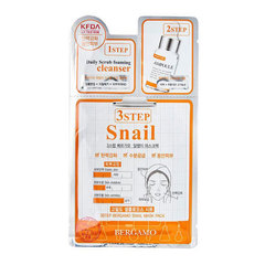 Bergamo 3 Step Snail Mask Pack - Трехэтапная маска для лица с муцином улитки