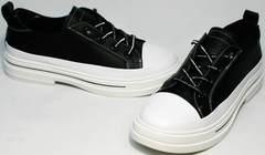 Черно белые кроссовки туфли спортивные женские El Passo sy9002-2 Sport Black-White.