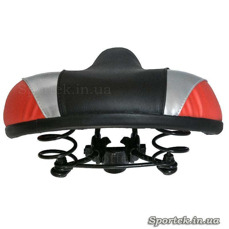Вид сзади на седло для прогулочных велосипедов (черно-серо-оранжевый, 280х240 мм)