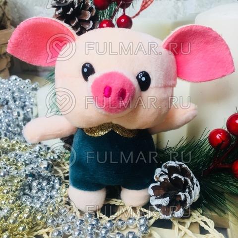 Поросёнок брелок Хрюня Ушастик золотистый воротничок символ 2019 года свинья (опаловый зелёный)
