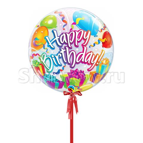 Прозрачный шар бабл С Днем Рождения, 56 см