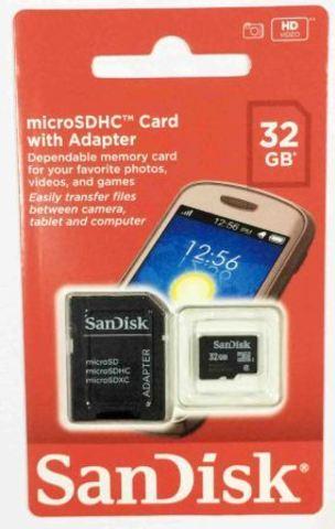 micro SDHC карта памяти SanDisk 32GB Class4 + адап