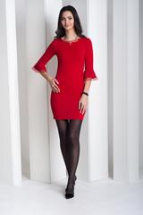 Динара. Облегающее платье с красивым рукавом. Красный
