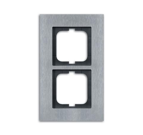 Рамка на 2 поста. Цвет Нержавеющая сталь. ABB(АББ). Carat(Карат). 1754-0-4255