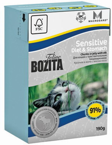BOZITA Feline Funktion Diet & Stomach консервы для кошек с чувствительным пищеварением, пожилых 190г