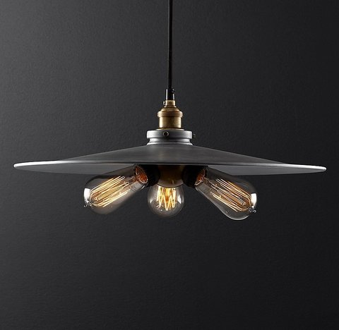 Подвесной светильник копия 20th C. Factory Filament Metal Triple Pendant by Restoration Hardware