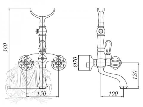 Смеситель для ванны Migliore Olivia ML.OLV-5802 схема