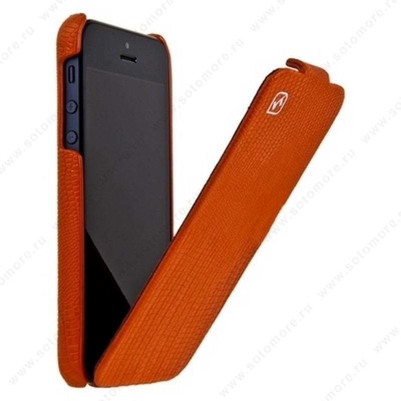 Чехол-флип HOCO для iPhone SE/ 5s/ 5C/ 5 - HOCO Lizard pattern Leather Case Orange