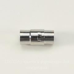 Замок для шнура 6 мм магнитный из 2х частей, 17х8 мм (цвет - платина)