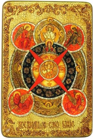Инкрустированная большая икона Всевидящее Око Божие 42х29см на натуральном дереве в подарочной коробке