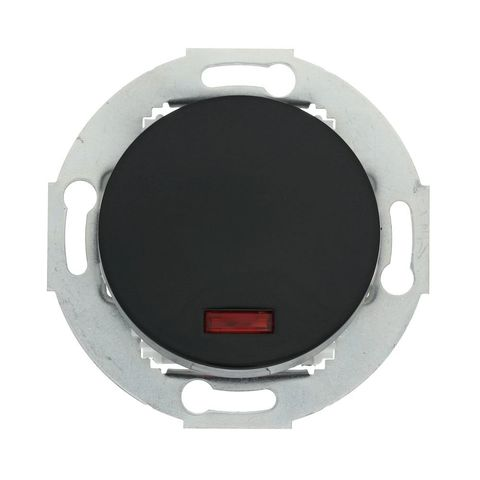 Выключатель одноклавишный (схема 1L) с индикатором 10А, 250В. Цвет Чёрный. LK Studio Vintage (ЛК Студио Винтаж). 880208-1
