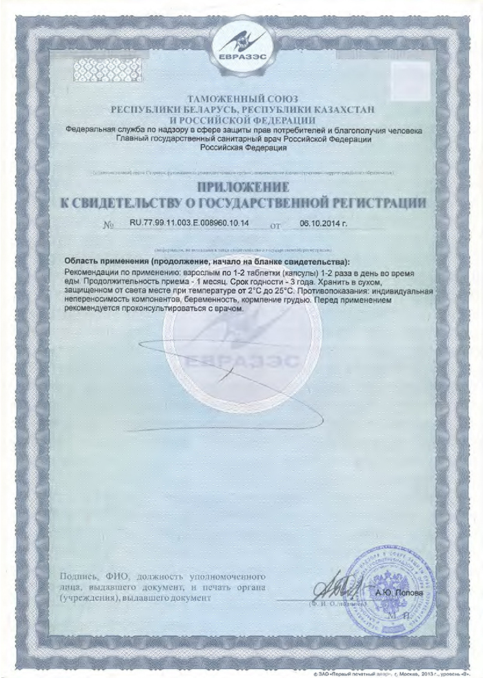 Челохарт - Свидетельство о Госрегистрации приложение