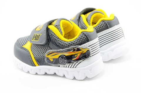Светящиеся кроссовки для мальчиков Хот Вилс (Hot Wheels), цвет темно серый, мигают картинки сбоку и на липучках. Изображение 8 из 12.