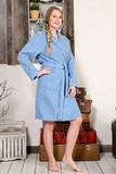 Голубой махровый халат Twin-Set
