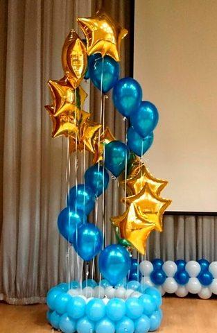 Каскад шаров - синие шары металлик и золотые звезды