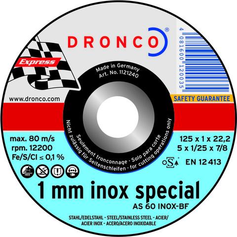 Абразивный отрезной диск Dronco AS 60 T INOX 115х1
