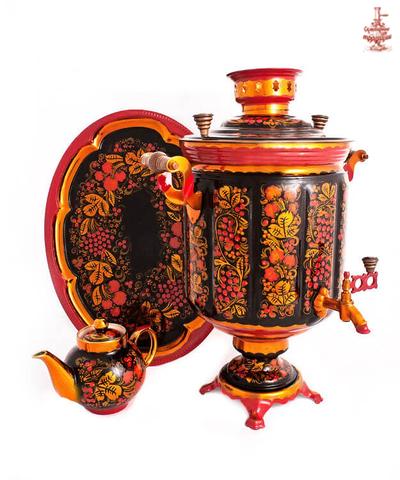 Самовар «Хохлома» электрический формой банка 10 л в наборе с подносом и чайником