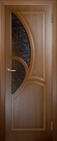 Дверь 9ДО3 (орех, остекленная шпонированная), фабрика Владимирская фабрика дверей