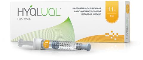 *Имплантант инъекционный на основе гиалуроновой кислоты Hyalual (Гиалуаль) 1,1% 1 мл