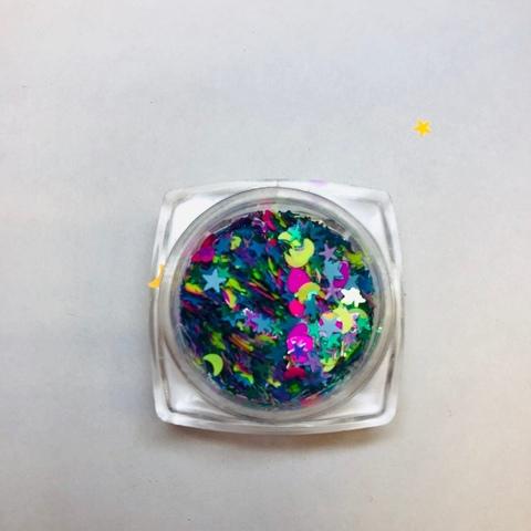 Микс цветной ( бабочки, луна, сердечки) №3