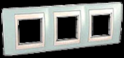 Рамка на 3 поста. Цвет Морская волна/белый. Schneider electric Unica Хамелеон. MGU6.006.870