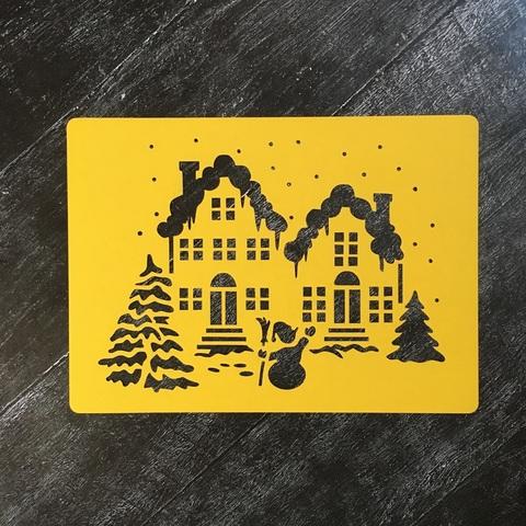 Трафарет новогодний №7 Дома в снегу