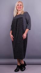 Роксолана. Оригинальное платье size plus. Серый+горошки.