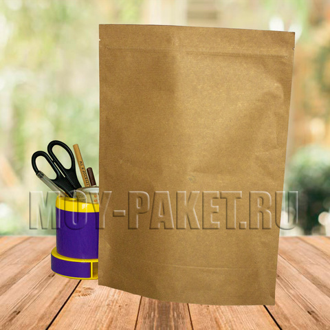 Крафт пакет дой-пак с замком зип-лок  металлизированный 240x330 мм