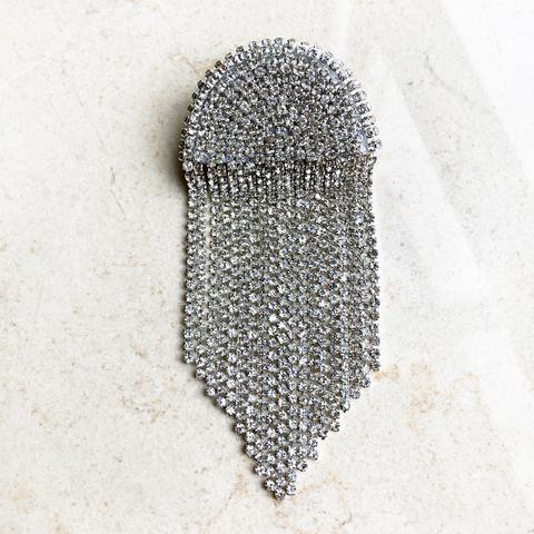 Моносерьга-клипса с серебряными кристаллами