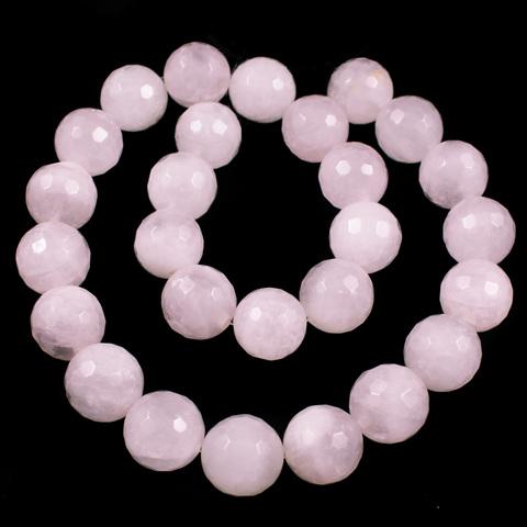 Кварц розовый бусины шар граненый 14 мм нить 13 бусин