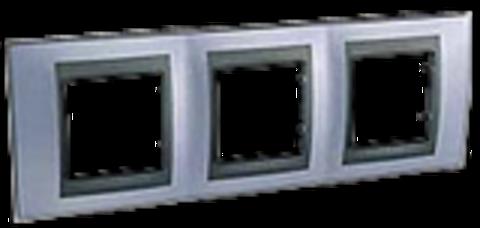 Рамка на 3 поста. Цвет Берилл-графит. Schneider electric Unica Top. MGU66.006.298