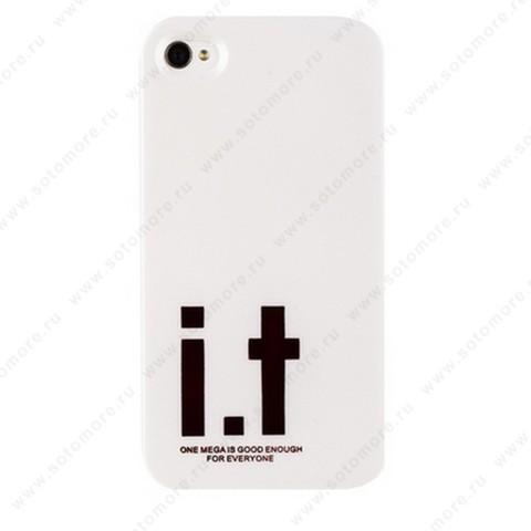 Накладка i.t с водонепроницаемым мешком для iPhone 4s/ 4 с большими красными буквами белая