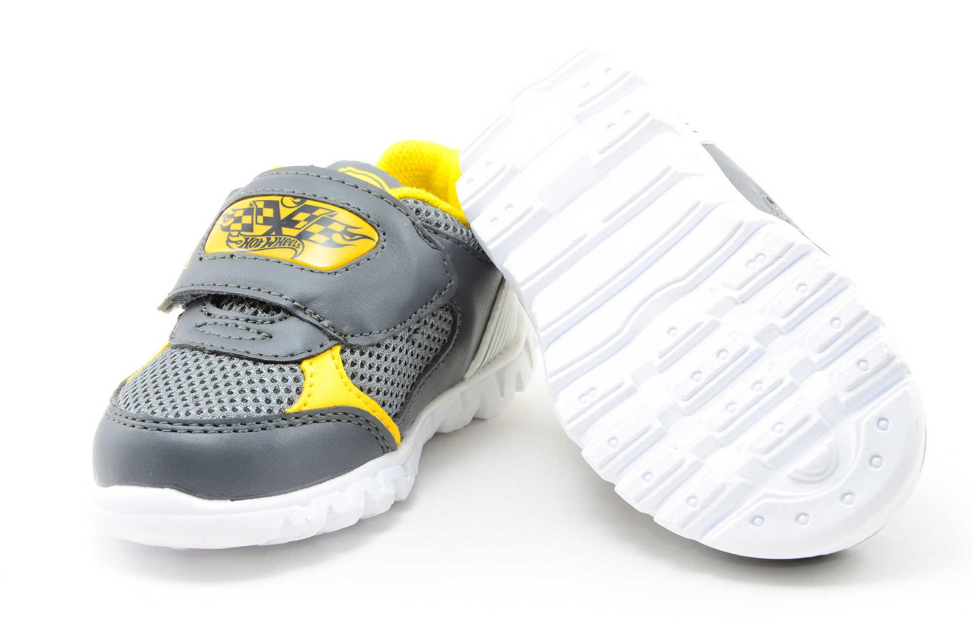 Светящиеся кроссовки для мальчиков Хот Вилс (Hot Wheels), цвет темно серый, мигают картинки сбоку и на липучках