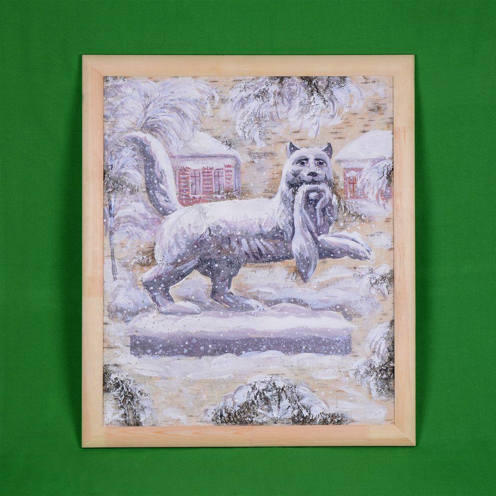 Картина на бересте Герб Иркутска зимой