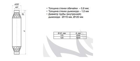 Дымоход-конвектор РЭМБО ф115, 1м, 1/0,8мм, нерж/нерж