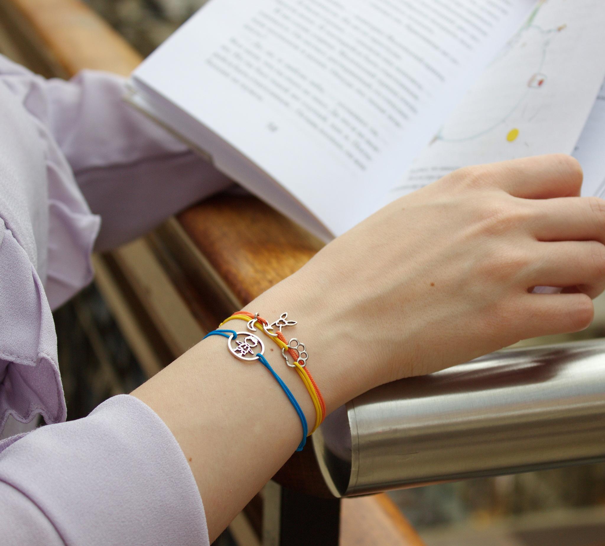 Fox Bracelet, The Little Prince Fox, Le Petit Prince Cord Bracelet, Sterling Silver