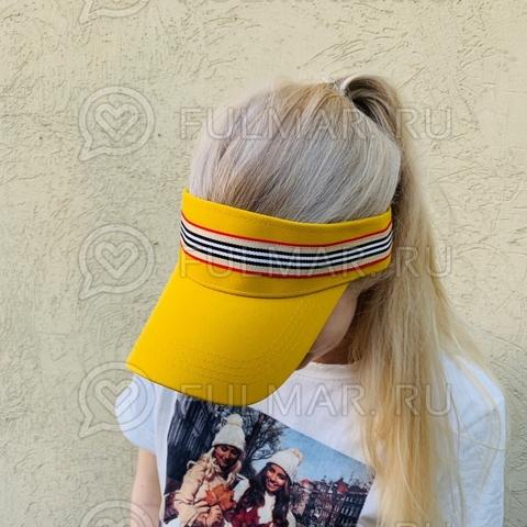 Козырёк от солнца на голову на липучке в полоску (цвет: Жёлтый)
