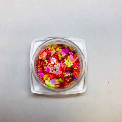 Микс цветной ( бабочки, луна, сердечки) №7