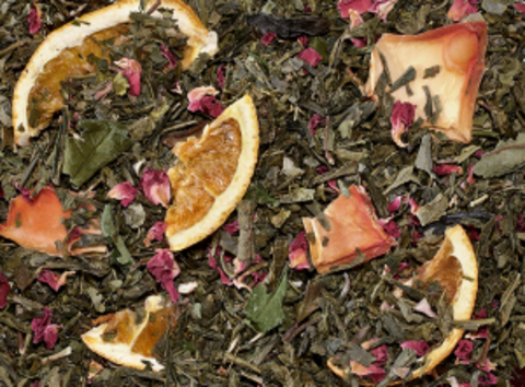 Купаж зеленого и белого чая Райская птица (папайя-апельсин)
