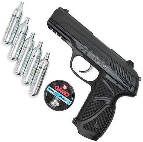 Подарочный комплект GAMO PT-85 (Пистолет GAMO PT-85, 5 баллончиков CO2 Daisy (12гр.), GAMO PISTOL PRO 4,5мм (250шт)