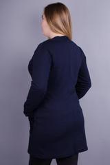 Кардо. Стильный женский кардиган больших размеров. Синий.