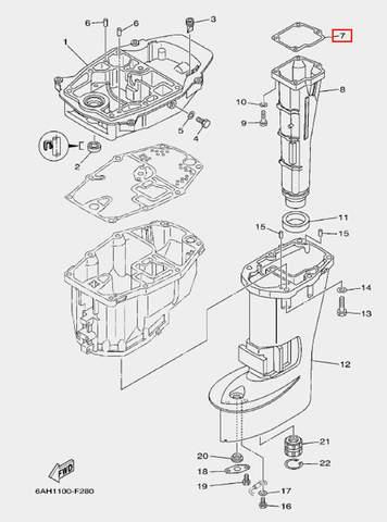 Прокладка глушителя для лодочного мотора F20 Sea-PRO (21-7)