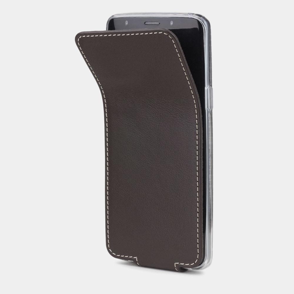 Чехол для Samsung Galaxy S9 Plus из натуральной кожи теленка, темно-коричневого цвета
