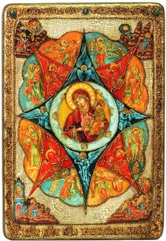 Инкрустированная большая икона Образ Божией матери Неопалимая купина 42х29см на натуральном дереве в подарочной коробке