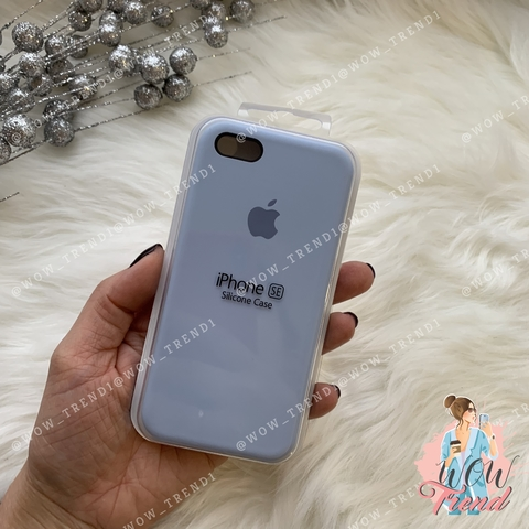 Чехол iPhone 5/5s/SE Silicone Case /lilac cream/ голубой 1:1