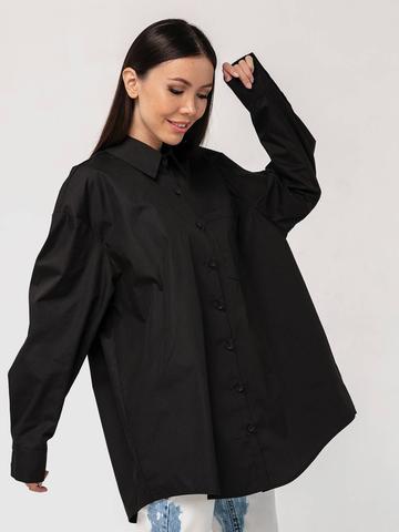 Хлопковая рубашка бойфренда черная с длинными рукавами YOS