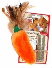 """Игрушка для кошек KONG """"Морковь"""" 15 см плюш с тубом кошачьей мяты"""